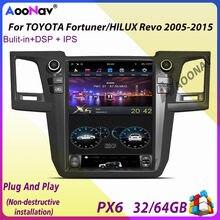 Autoradio PX6, Android 9.0, navigation GPS, Vertical, type Tesla, pour TOYOTA Fortuner/HILUX Revo 2005 – 2015, A/C, manuel ou automatique