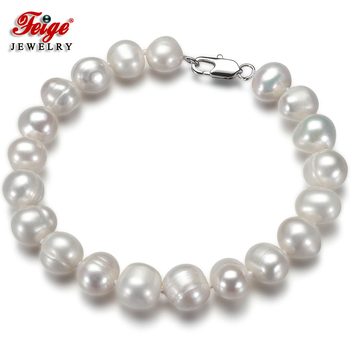 Some Flaws White Natural Freshwater Cultured Pearl Bracelet for Women's Party Gifts Handmade Jewelry Beads Wholesale - discount item  45% OFF Fine Jewelry