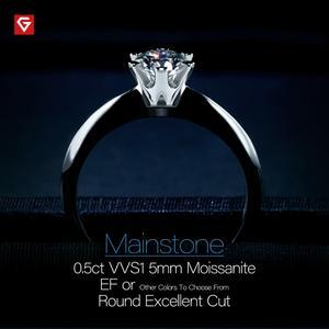 Image 3 - GIGAJEWE 0.5ct 5 مللي متر EF الجولة 18K الذهب الأبيض مطلي 925 الفضة مويسانيتي خاتم الماس اختبار مرت مجوهرات امرأة صديقة هدية