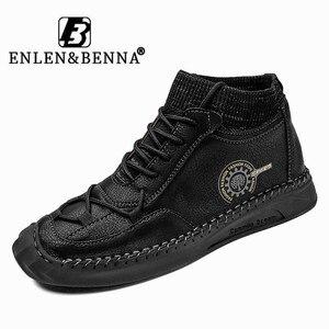 Новые популярные мужские повседневные сапоги, кожаная мужская обувь на шнуровке, Нескользящие мужские ботильоны, черная Роскошная мотоцик...