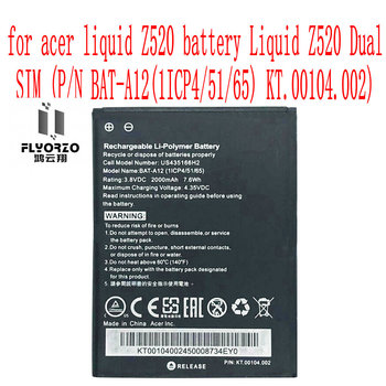 High Quality 2000mAh BAT-A12 Battery For acer Z520 battery Liquid Z520 (P/N BAT-A12(1ICP4/51/65) KT.00104.002) Cell Phone image