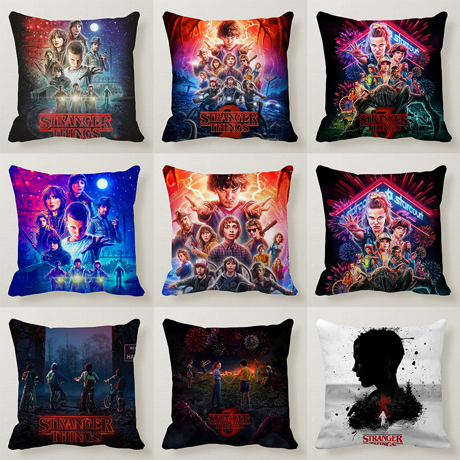 45*45cm Stranger Things 3 Stranger Things Season 2 Cushion Cover Pillows Bureau Oreiller Fronha Federa Funda De Almohada Pillow