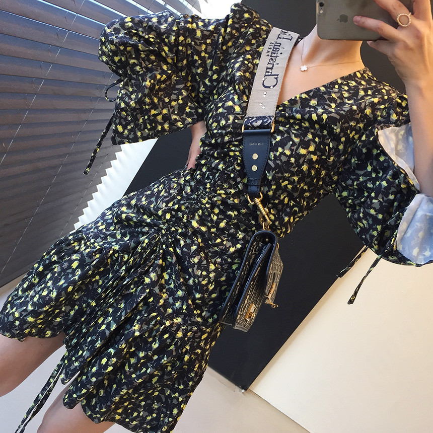 H78f70bbbb82c4e0bbc2e224b162f50b0c - Autumn V-Neck Flare Sleeves Drawstrings Floral Print Mini Dress