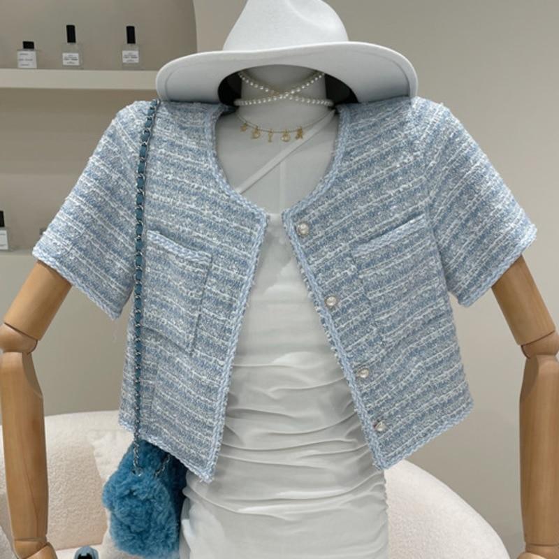 2021 New Summer Elegant Tweed Short Jackt Coat Women Korean Chic Pearl Button Short Sleeve Vintage Plaid Outwear Female Crop Top
