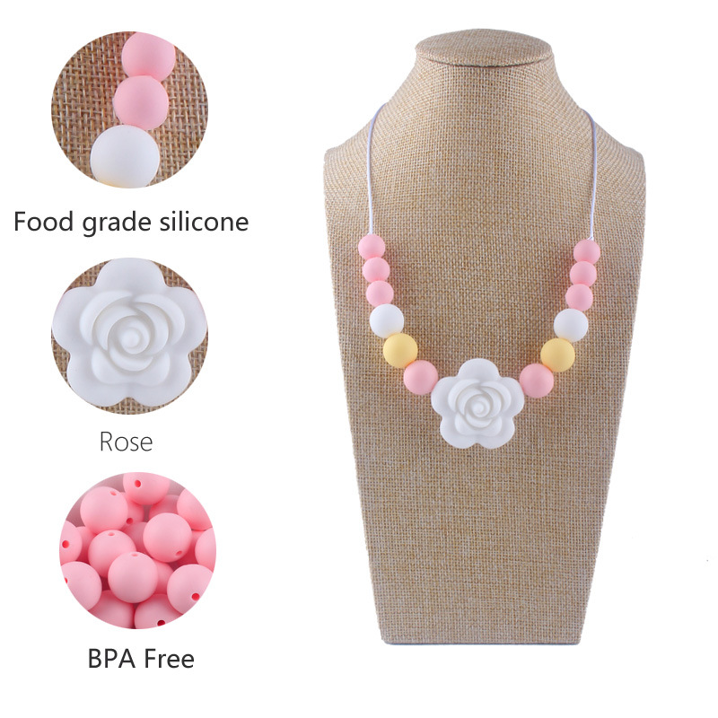 Silicone Teething Toy Baby Teether Beads DIY Chew Necklace Nursing Pendant Gifts