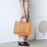 Briefcase Women Leather 14 Inch Laptop Bag Business Commuter Female Handbag Fashion Cowhide Large Capacity Ladies Shoulder Bag