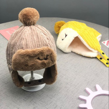 Winter Kids Bomber Hats Cotton Plus Velvet Thick Leifeng Hat Cartoon Cute Earflap Cap Warm Children Corduroy 48-53cm 2019