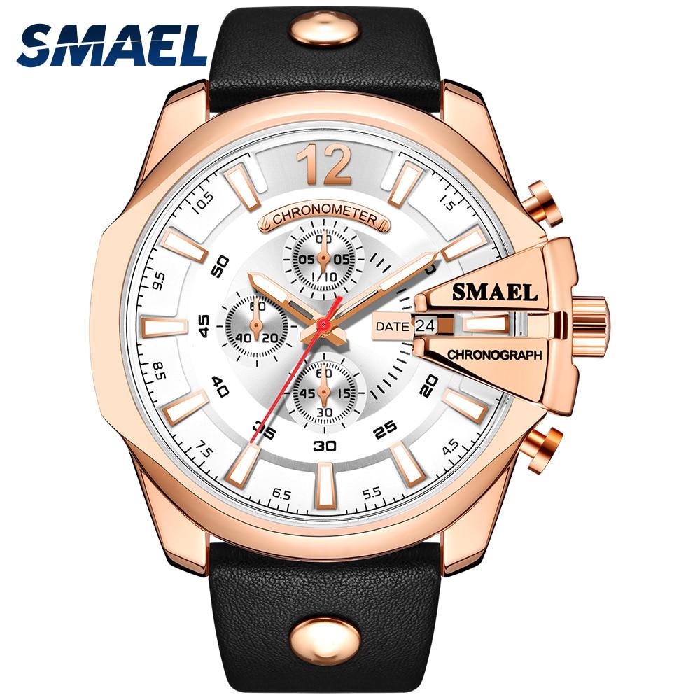 SMAEL Casual Leather Belt Multi-pointer Display Quartz Watch Mens Top Brand Luxury Waterproof Clock Relogio Masculino SL-9079
