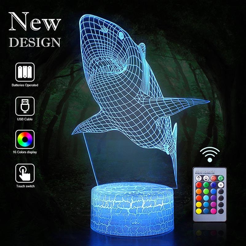 3D Shark LED Night Light Owl Eagle Table Lamp Lantern Cartoon 16 Color Illusion Luminaria Lava Lampe Decor Baby Kids Xmas Gifts