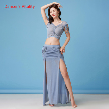 Belly Dance Suit New Summer Female Temperament Top Practice Clothes Profession Sexy Mesh Long Skirt Training Clothing 2