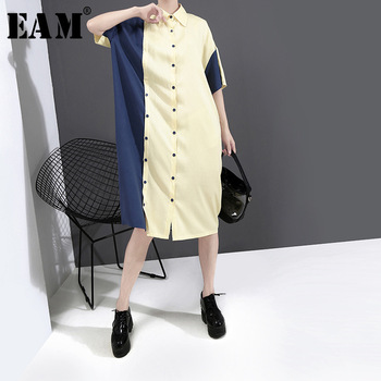 [EAM] Women Yellow Contrast Color Big Size Shirt Dress New Lapel Half Sleeve Loose Fit Fashion Tide Spring Summer 2020 1W337