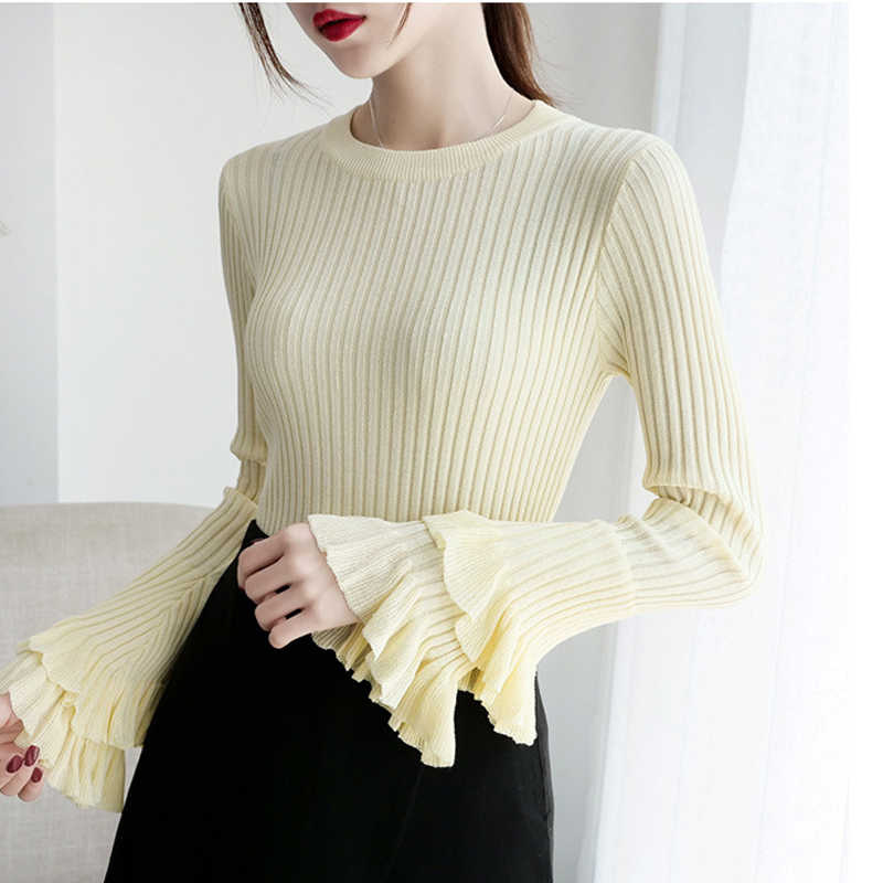 RICININA Casual Sweater Women Long Sleeve O-Neck Solid Ruffle Knitted Pullover Mujer Fall Sweaters For Women Sweaters Ladies