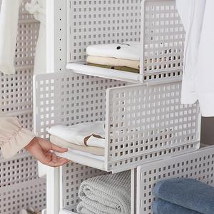 Detachable Multi-layer Plastic Storage Racks Shelf Wardrobe Clothes Socks Sliding trajectory Storage Basket Shelf Organizer