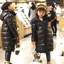 цена на Girls Boys Winter Down Jacket Waterproof Kids Down Jacket For Girls 2-12 Years Children Boys Outerwear Coat Black Kids Parka