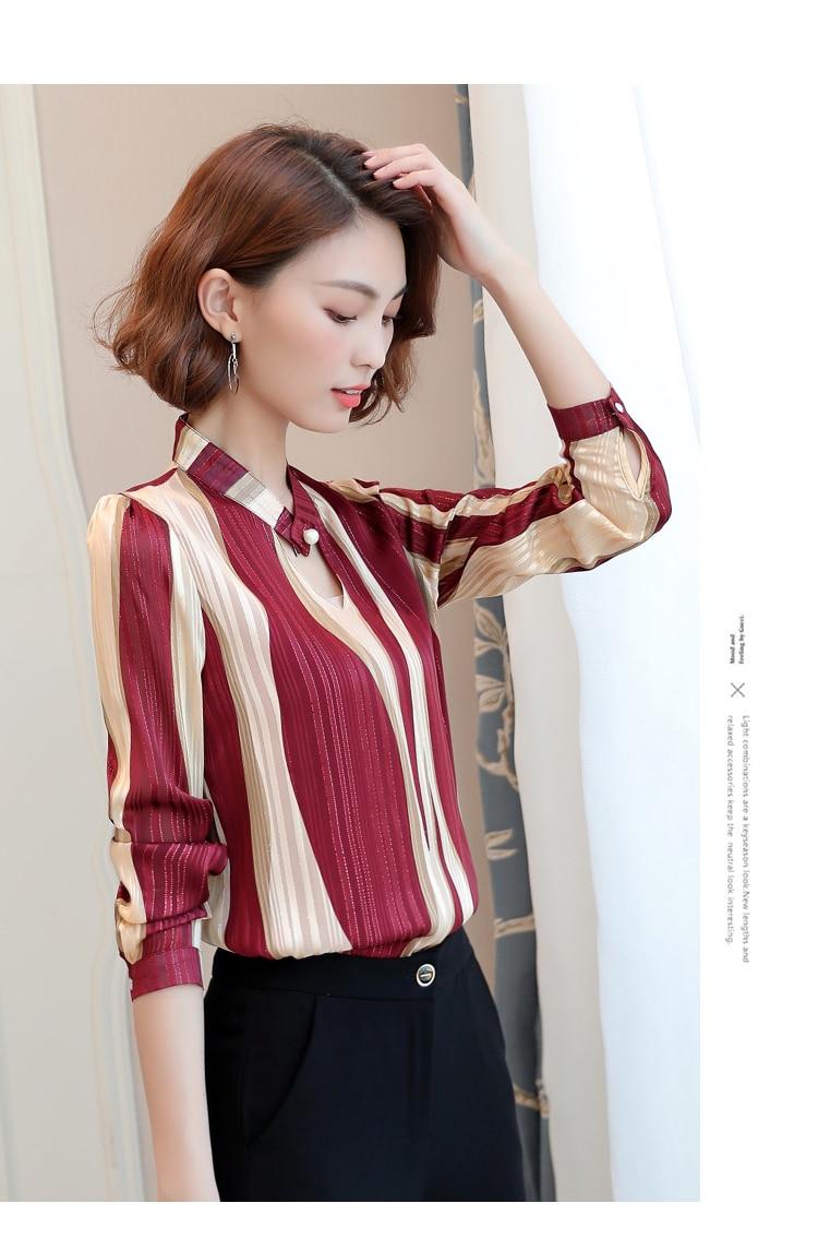 plus size tops women blouse fashion woman blouses 2020 office striped shirt chiffon blouse shirt long sleeve women shirts Z06 60 5