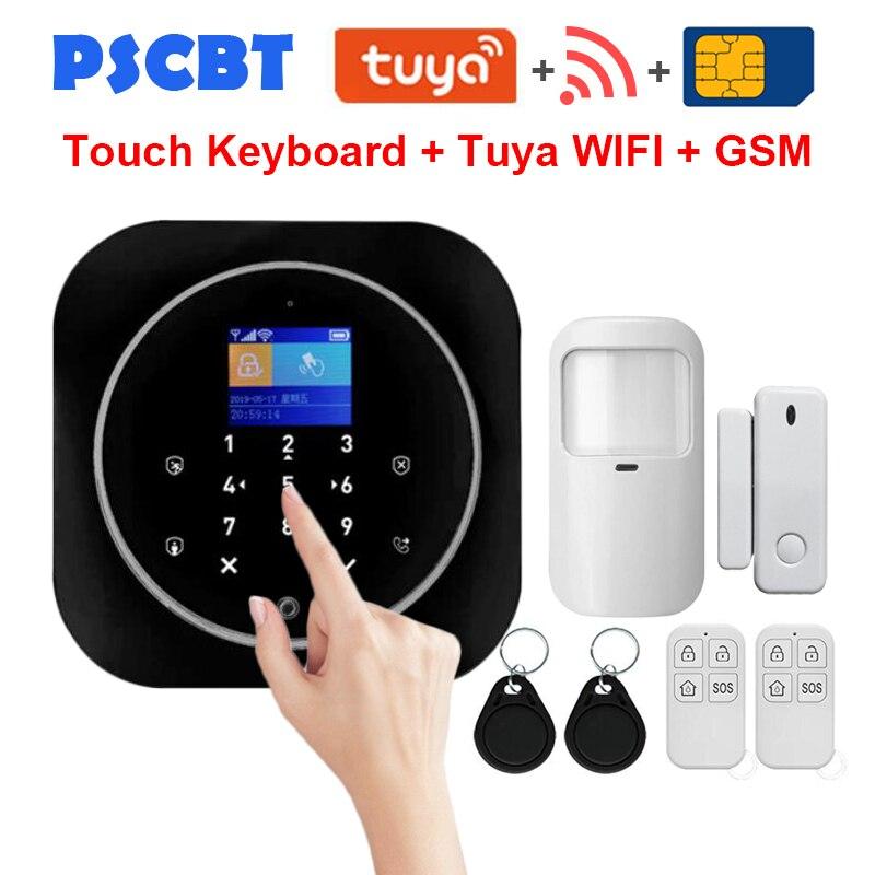 PS12 Tuya sécurité à domicile WIFI GSM système d'alarme APP télécommande PIR porte fenêtre capteur alarme antivol