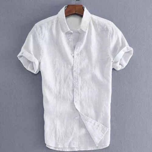 남성 셔츠 코튼 린넨 소프트 반소매 카우보이 여름 버튼 쿨 루스 캐주얼 V 넥 셔츠 탑 슬림 피트 티 비치 블라우스