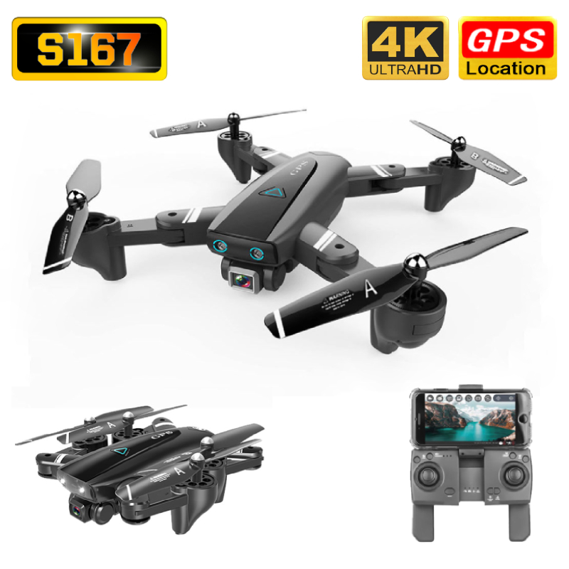 S167 Drone GPS 4K HD Camera 5G WIFI FPV Foldable Selfie Drones Professional 600m Control Distance Follow Me RC Quadcopter