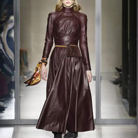 OMIKRON New Fashion Autumn Runway Solid Women A Word Faux Leather PU Dress Long Sleeve High Waist with Sashes Pleated Maxi Dress