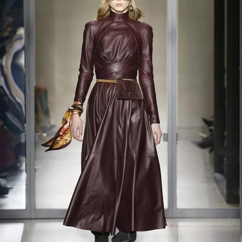 OMIKRON nouvelle mode automne piste solide femmes un mot Faux cuir robe en simili cuir polyuréthane à manches longues taille haute avec ceintures plissée robe Maxi