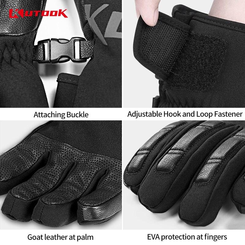 Kutake gants de Ski imperméables hommes hiver gants de Snowboard thermique coupe-vent femmes planche à neige gants de motoneige accessoires de Ski - 6
