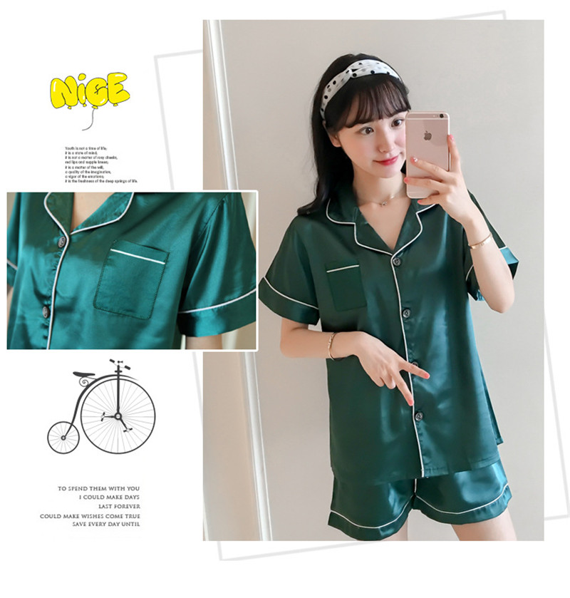 H78f7f087ecd54c4bb7143aa39081bc1cP - JULY'S SONG New Spring Summer Women Faux Silk Pajamas Set Simple Pure Color Leisure Nightwear Short Sleeves Sleepwear