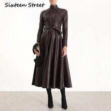 Vestido de cuero de PU negro para mujer de manga larga con cuello alto de lujo de diseño de pasarela vestido de cuero para mujer 2019 Otoño Invierno ropa