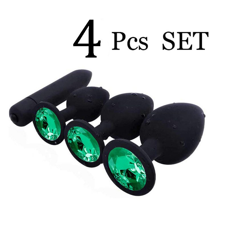 4Pcs Crystal Diamond Butt Plug Silicone <font><b>Anal</b></font> Plug Anus Prostate Massager Buttplug <font><b>Adult</b></font> Female Male <font><b>Anal</b></font> <font><b>Sex</b></font> <font><b>Toys</b></font> <font><b>for</b></font> <font><b>Men</b></font> Women image