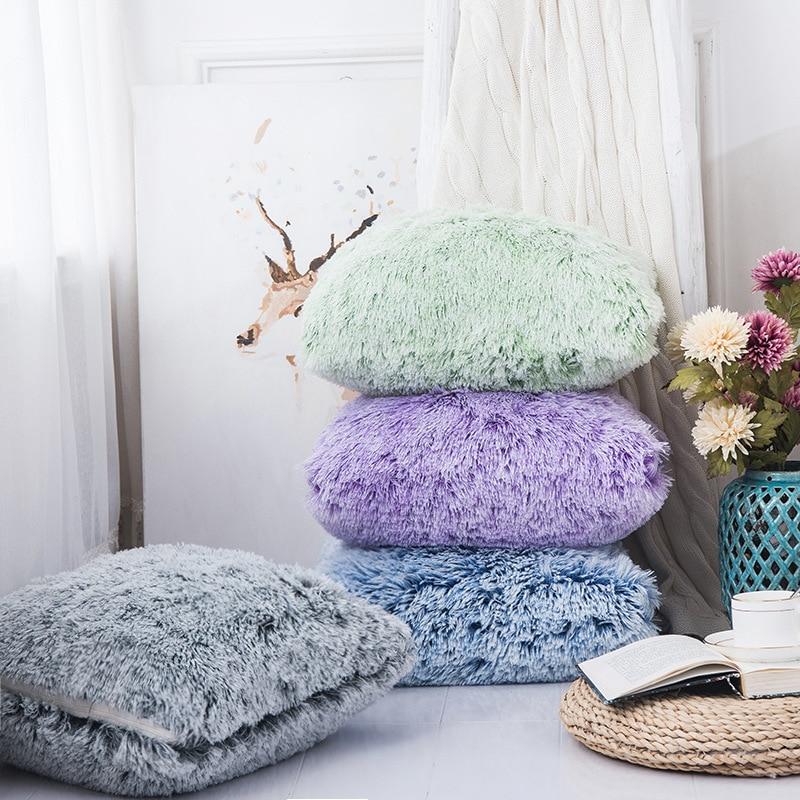 Double Colour Long Fur Plush Cushion Covers Sofa Kussenhoes Coussin Decoration Decorative Throw Pillowcase Travesseiro Cojines