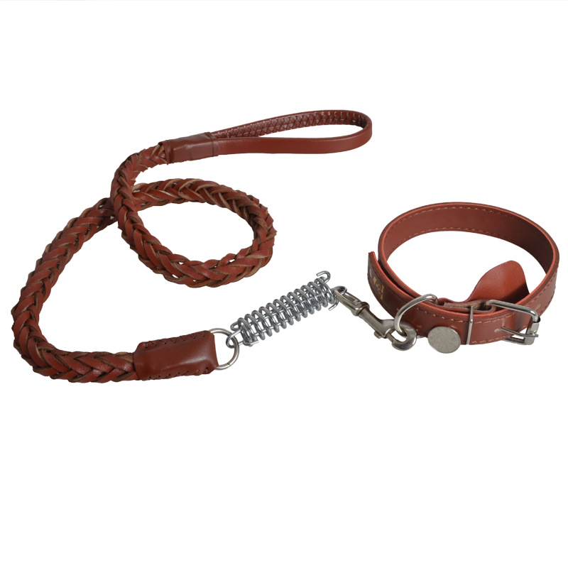 Manufacturers Direct Selling Pet Cowhide Weaving Traction Set Dog Neck Ring Hand Holding Rope Applicable Medium Large Dog