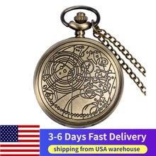 цена на US Local 3-6 Days Fast Delivery Antique Doctor Who Theme Necklace Quartz Pocket Watch Classic Chain Clock Gift reloj de bolsillo