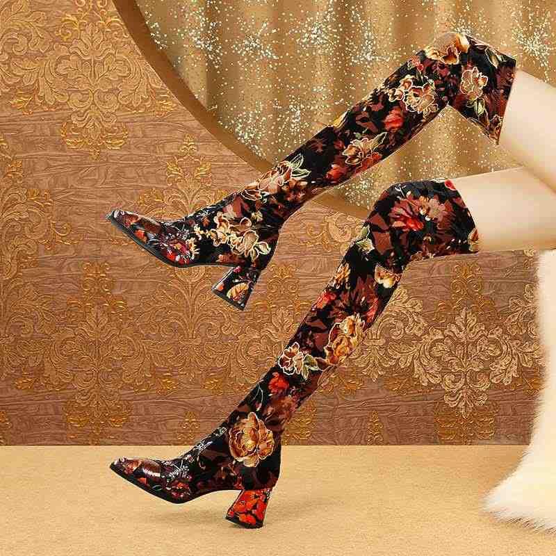 Krazing pot oryantal olgun kadın baskı koyun deri streç çizmeler sivri burun yüksek topuklu nefes rahat uyluk yüksek çizmeler L73