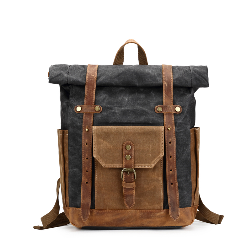 Vintage huile ciré toile cuir sac à dos grande capacité adolescent voyage imperméable Daypacks 14 pouces ordinateurs portables sac à dos noir