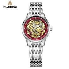 스타킹 기계식 시계 여성 럭셔리 스테인레스 스틸 중공 골격 자동 숙녀 시계 중국어 Hodinky Damske 5ATM AL0185