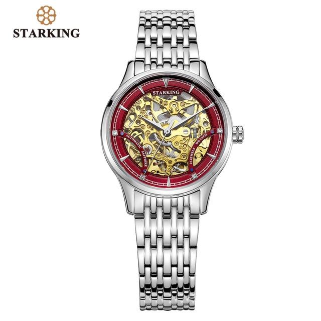 Starking Mechanische Horloge Vrouwen Luxe Rvs Hollow Skeleton Automatische Dameshorloge Chinese Hodinky Damske 5ATM AL0185