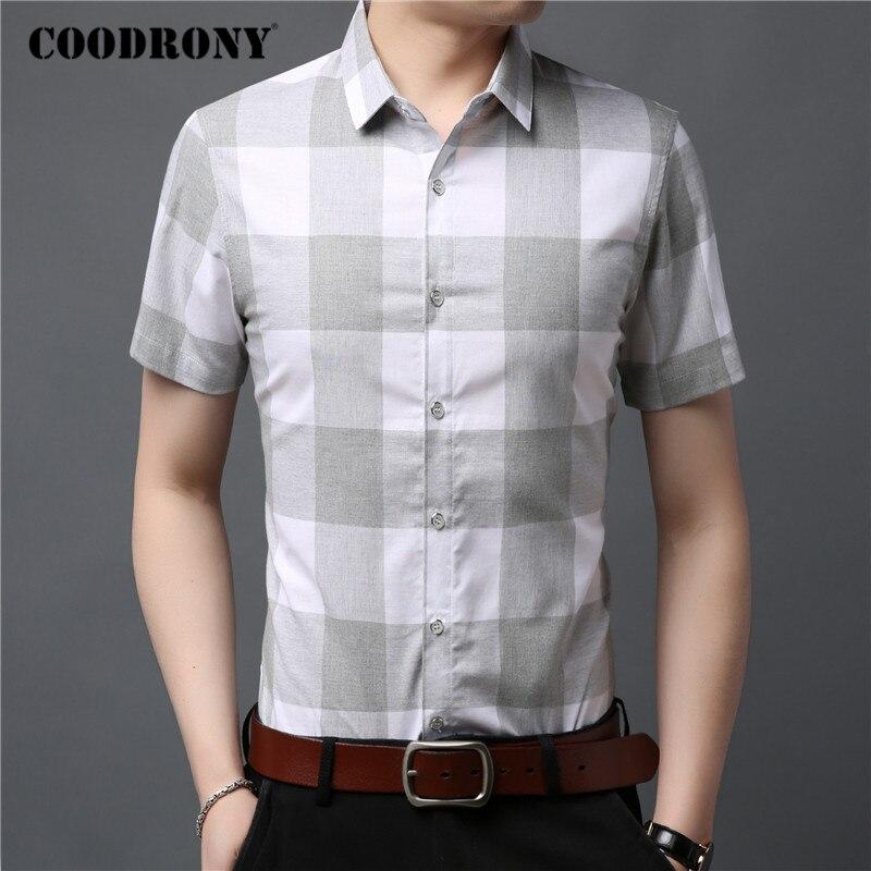 COODRONY Brand Men Shirt 100% Cotton Fashion Big Plaid Camisa Masculina Spring Summer Short Sleeve Business Casual Shirts C6022S