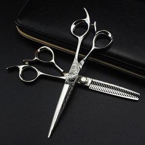 Image 5 - Aanpassen logo Damascus staal 6 inch kapsalon schaar snijden kapper makas gereedschap gesneden dunner schaar kappersscharen
