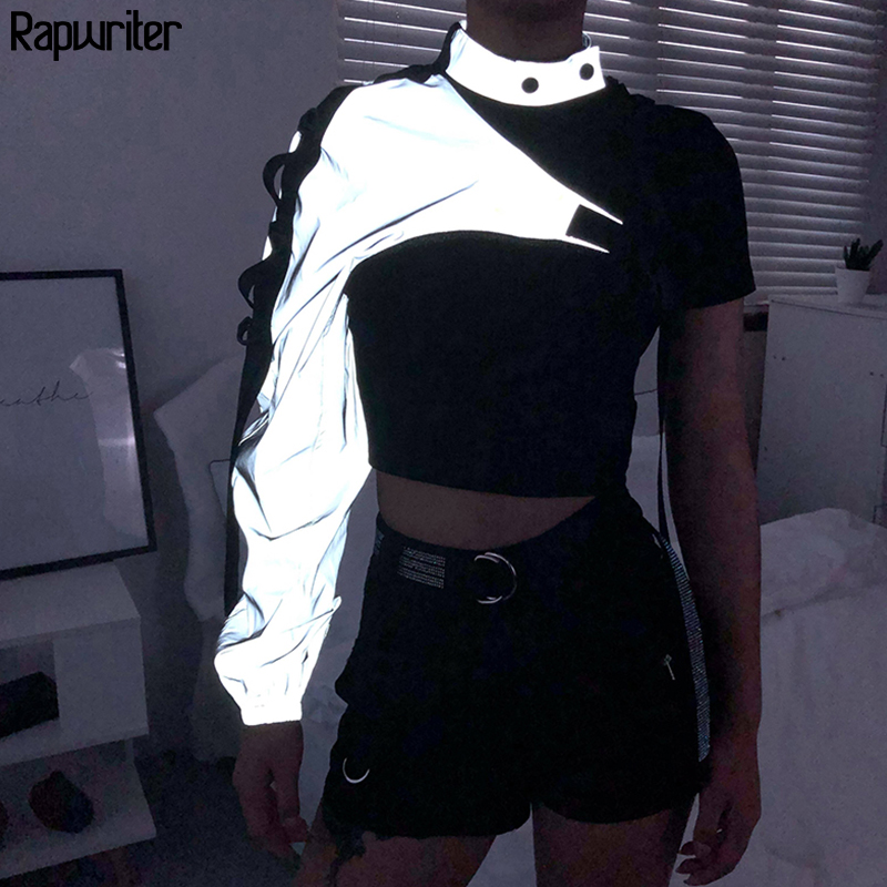 Rapwriter Fashion One Shoulder Plastic Buckle Long Sleeve Reflective Sweatshirt Women 2019 Fall Outwear Harajuku Halter Crop Top