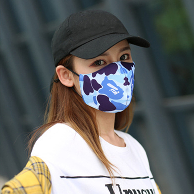 Women Men Unisex Face Mouth Mask Shark Colorful Camouflage Earhook Elastic Anti-Dust Muffle Protective 2