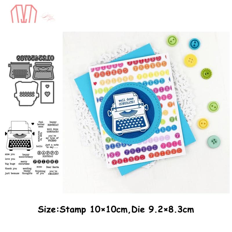 Mai Typewriter Metal Cutting Dies Stencils Cear Stamp For DIY Scrapbooking Photo Album Decorative Embossing Paper Cards