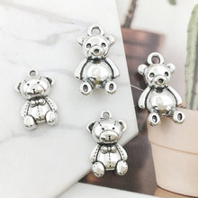 2 Styles Alloy Bears Accessories Dimensional Silver Cute Metal Bear Pendant for Diy Making Necklace Pendant Jewelry Wholesale