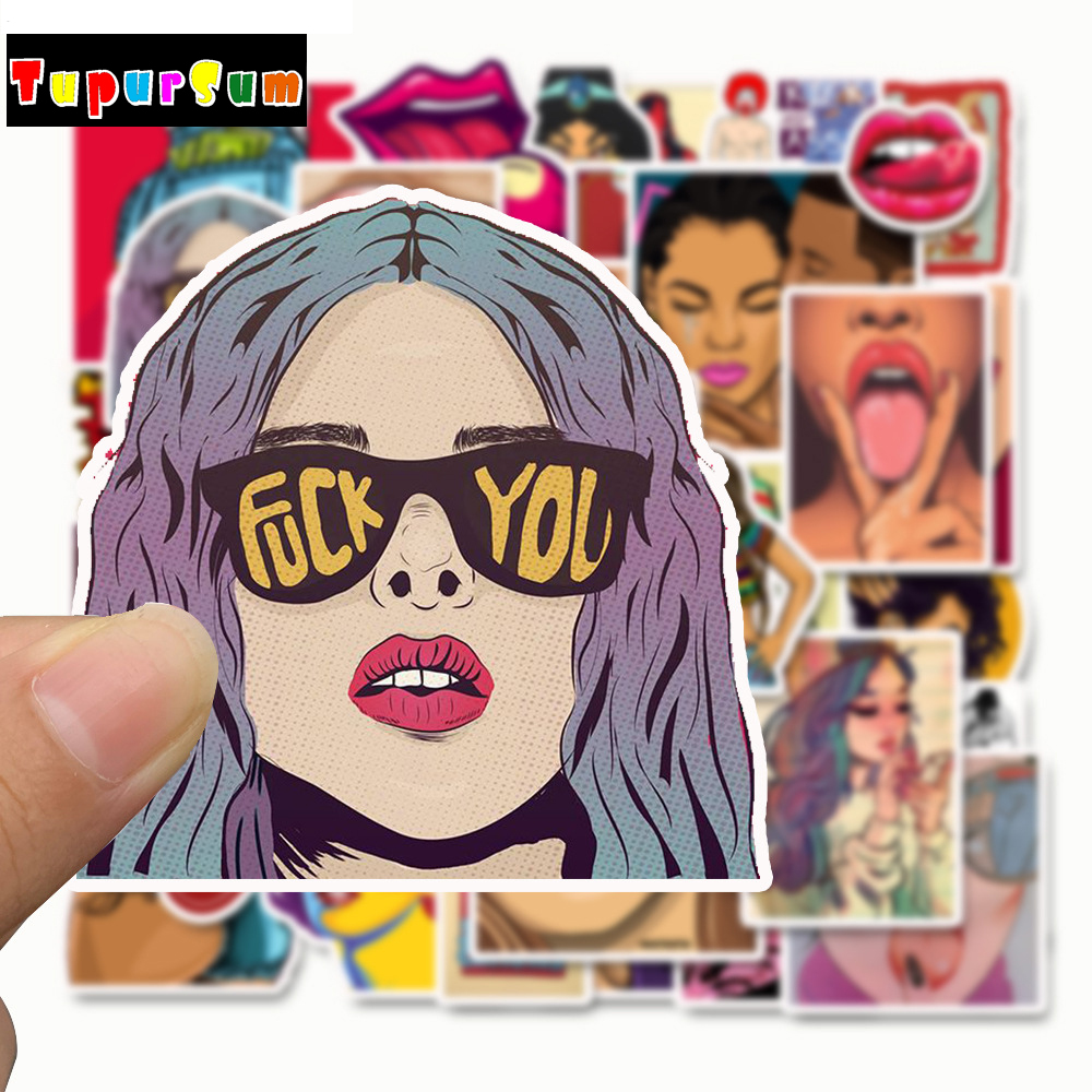 50Pcs Big breast Waterproof Tease Vulgar Sexy Vulgar beauty Girls Stickers For Motorcycle Skateboard Luggage Toy Decor Sticker in Stickers from Toys Hobbies