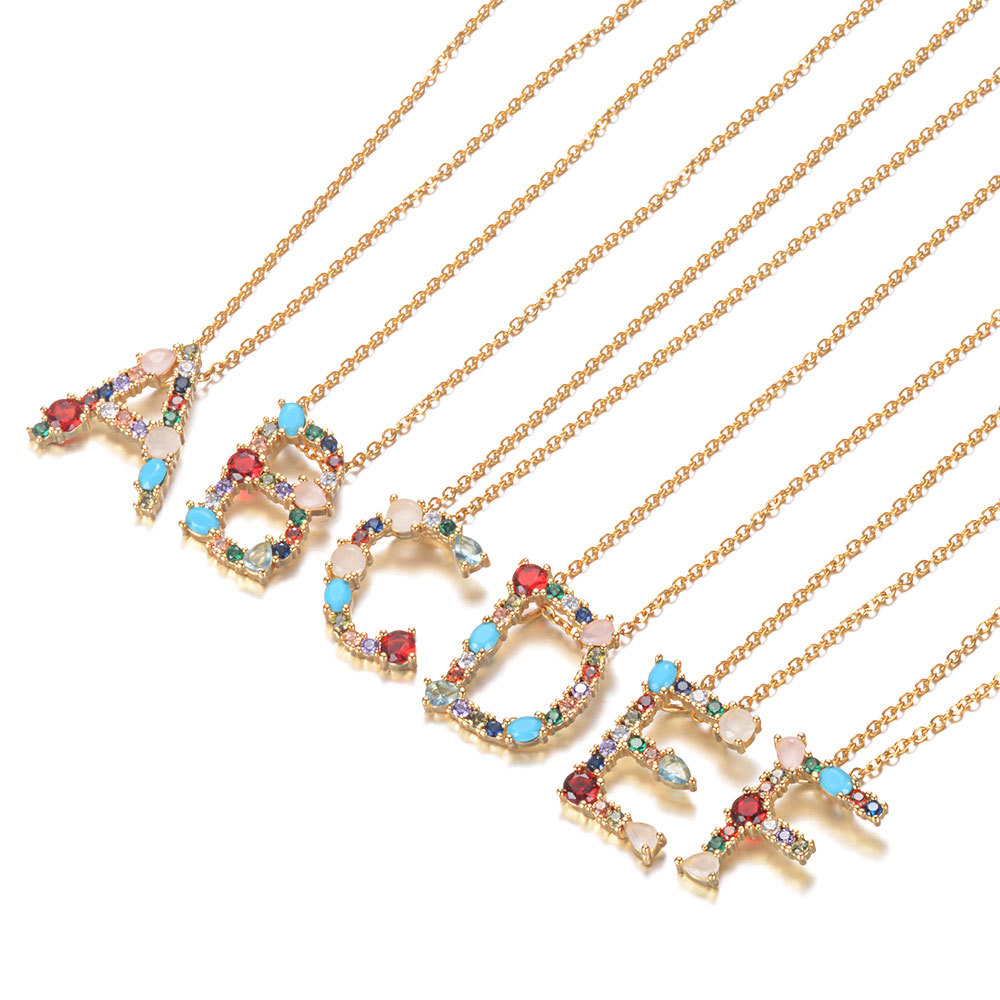 Gold Color A-Z 26 Initial Letters CZ Necklace Multicolor Zircon Rhinestone Pave Alphabet Pendant Fashion Name Jewelry Gift