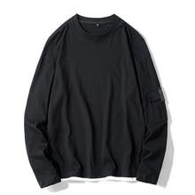 2019 Summer Men's New Casual Pocket Decoration Long-sleeved Round Neck T Shirt Loose Temperament Trend Cotton M-4XL цены