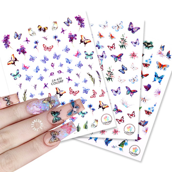 3D Nail Sticker Summer Theme Colorful Butterfly Flower Transfer Beautiful Decals Decoration Popular DIY Nail Art Accessories image