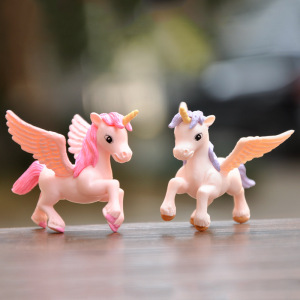 BAIUFOR 1PC Small Pegasus Cute Unicorn Figures Fairy Animal Miniature Garden Figurine Cake Party Desk Decoration Toy & Gift