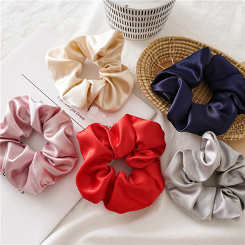 Women Faux Silk Solid Scrunchies Lady Simple Elastic Headbands Satin Hairbands Girls crunchy hair tie Hair Rope Hair Accessories image