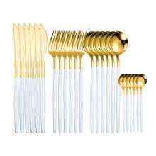 Juego de vajilla dorada de acero inoxidable, cuchillo, tenedor, cuchara, regalo, caja de cubiertos apta para lavavajillas, 24 Uds.