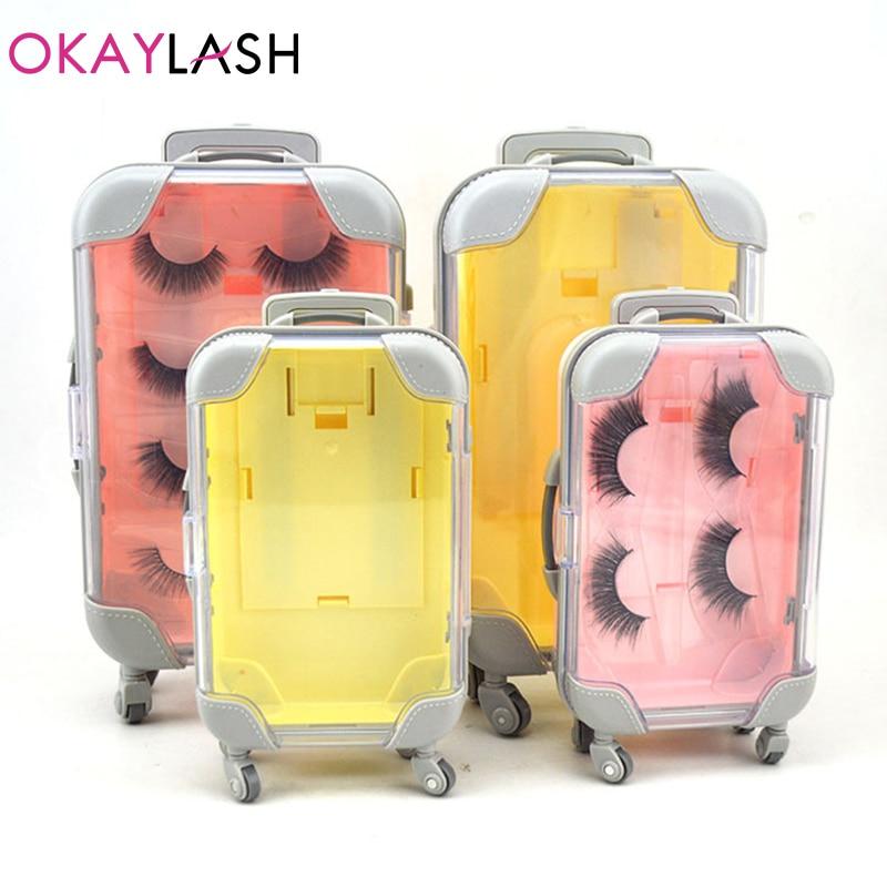 OKAYLASH Fashionable Luxury False Eyelash Suitcase  Empty Lash Packaging Box Pink Yellow Eyelash Luggage Case