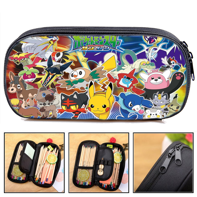 Cartoon Boys Girls Pokemon Pencil Case Students Pikachu Pen Bag Anime High Quality Cute Stationery Bag Fashion Pencil Box Gift
